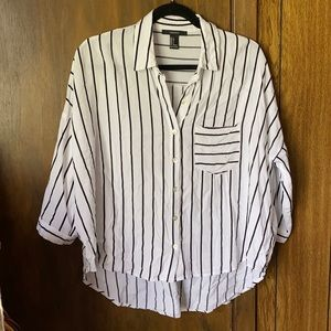 Forever21 Striped Black White Oversized Button Top